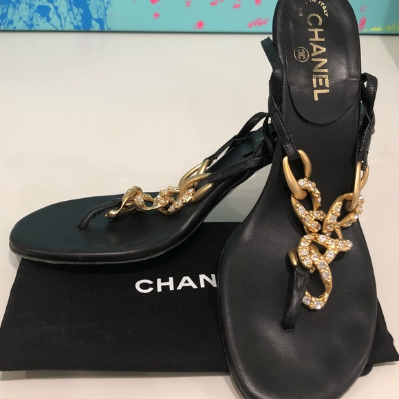655e367a4fb CHANEL Shoes - Chanel Black Crystal Gold chain heel thongs 39.5